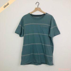 [Tavik] Men's Blue Striped Pocket Tee Shirt